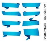 set of blue ribbon banner icon... | Shutterstock .eps vector #1392588725
