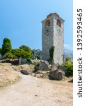 Ancient Stone Tower With Clock...