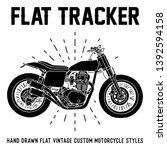 hand drawn custom motorcycle... | Shutterstock .eps vector #1392594158