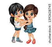 two lovely happy best friends... | Shutterstock .eps vector #1392628745