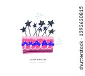 birthday cake with star candles ... | Shutterstock .eps vector #1392630815