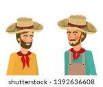 farmers men talking with straw...   Shutterstock .eps vector #1392636608
