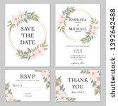 rustic cherry blossom wedding... | Shutterstock .eps vector #1392642488