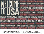flag usa. poster of united... | Shutterstock .eps vector #1392696068