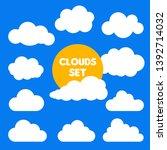 set of cartoon clouds and sun...   Shutterstock .eps vector #1392714032