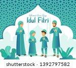 selamat hari raya idul fitri... | Shutterstock .eps vector #1392797582