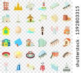 tall building icons set.... | Shutterstock .eps vector #1392803315