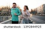 friends fitness training... | Shutterstock . vector #1392844925