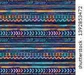 seamless watercolor ethnic...   Shutterstock . vector #1392853472