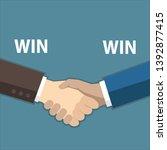 win win concept  handshake ... | Shutterstock .eps vector #1392877415
