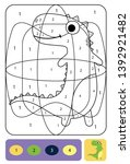 cute dino coloring page for... | Shutterstock .eps vector #1392921482