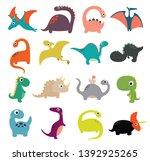 funny cartoon dinosaurs... | Shutterstock .eps vector #1392925265