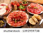 assorted of delicatessen with... | Shutterstock . vector #1392959738