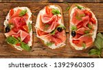 bread with cheese cream and... | Shutterstock . vector #1392960305