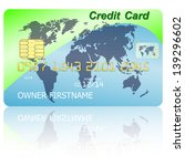 green credit card with shadow...   Shutterstock .eps vector #139296602