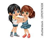 two lovely happy best friends... | Shutterstock .eps vector #1392976328