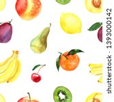 pattern of fruit painted with... | Shutterstock . vector #1393000142