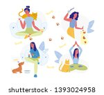 young woman and pets set... | Shutterstock .eps vector #1393024958