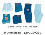 various denim jean clothes.... | Shutterstock .eps vector #1393029398