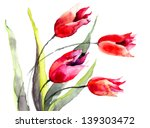Tulips Flowers  Watercolor...