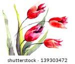 Tulips Flowers  Watercolor...