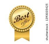 best offer award ribbon icon.... | Shutterstock .eps vector #1393035425