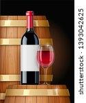 wooden barrel with wine bottle... | Shutterstock .eps vector #1393042625