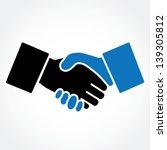 Handshake blue (shaking hands)