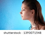 fresh woman with wet hair and... | Shutterstock . vector #1393071548