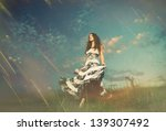 young lady with flowers at... | Shutterstock . vector #139307492