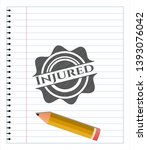 injured emblem draw with pencil ...   Shutterstock .eps vector #1393076042