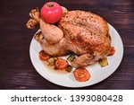 whole grilled chicken with... | Shutterstock . vector #1393080428