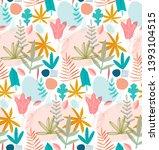 tropical leaves seamless... | Shutterstock .eps vector #1393104515