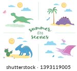 summer scenes with cute... | Shutterstock .eps vector #1393119005