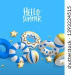hello summer greeting card... | Shutterstock .eps vector #1393224515