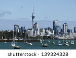 Small photo of AUCKLAND - APR 26:Auckland skyline from Hobson bay on April 26 2013.It's NZ's largest city with almost 400,000 people living within the city's boundary and 1.18 million in the greater Auckland area