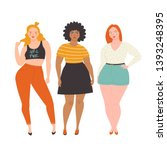 body positive girls. vector...   Shutterstock .eps vector #1393248395