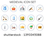 medieval icon set. 15 flat... | Shutterstock .eps vector #1393345088