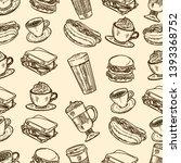 vector hand drawn seamless... | Shutterstock .eps vector #1393368752