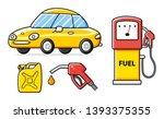 yellow car  petrol fuel pump...