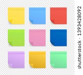 sticky colored notes. post note ... | Shutterstock .eps vector #1393428092