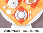 flat table setting with plate ... | Shutterstock .eps vector #1393483982