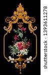 golden elements in baroque ... | Shutterstock . vector #1393611278