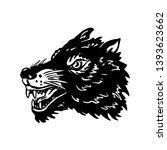 wolf head illustration on white ... | Shutterstock .eps vector #1393623662