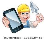 a builder or handyman holding a ... | Shutterstock .eps vector #1393629458