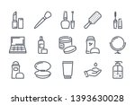 beauty related line icon set....