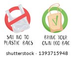 ecological concept   no plastic ... | Shutterstock .eps vector #1393715948