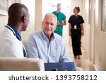 doctor welcoming to senior male ... | Shutterstock . vector #1393758212
