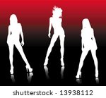 tree hot girls | Shutterstock .eps vector #13938112