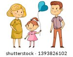 mother and father with little... | Shutterstock .eps vector #1393826102
